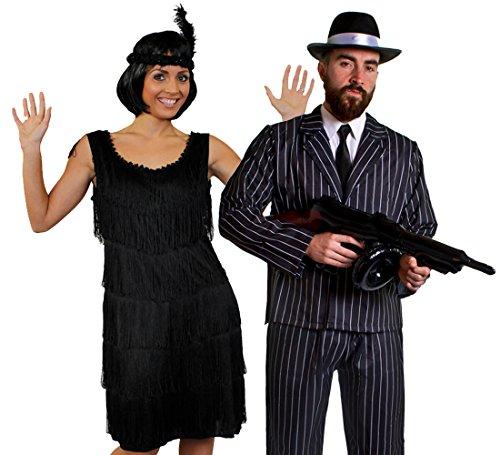 ILOVEFANCYDRESS Deluxe Gangster Paar=KOSTÜM VERKLEIDUNG= SCHWARZES FRANSEN Kleid +NADELSTREIFEN Anzug+Krawatte +Schnurrbart +AUFBLASBARER Maschinen Pistole +SCHWARZER Gangster Hut = Kleid-L+ Anzug-L