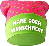 KLEINER FRATZ Baby KOPFTUCH Mütze (Farbe pink-lime) (Gr. 1 (56-74) mit Wunschtext oder Namen