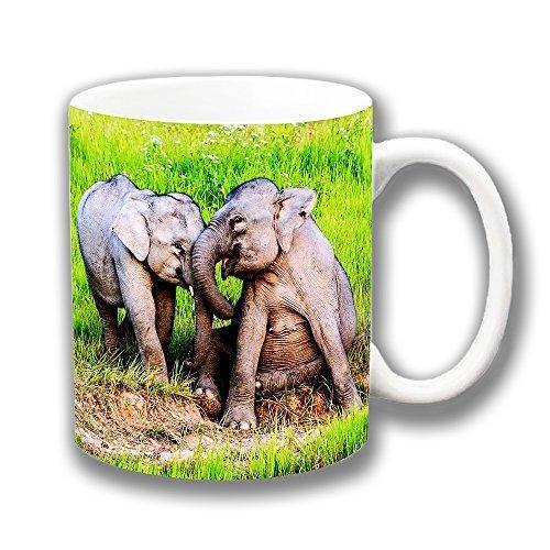 NOVEDAD DOS Bebé ELEFANTES Juego LAUGHING cerámica taza de café regalo original