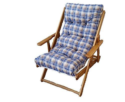 Transat relax pliant en bois, coussin rembourré, pour séjour, cuisine, salon Hauteur 100 cm