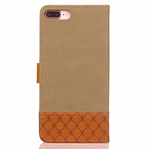 Hülle für iPhone 7 Plus, Tasche für iPhone 7 Plus, Case Cover für iPhone 7 Plus, ISAKEN Farbig Blank Muster Folio PU Leder Flip Cover Brieftasche Geldbörse Wallet Case Ledertasche Handyhülle Tasche Ca Verbindung Leinen Khaki