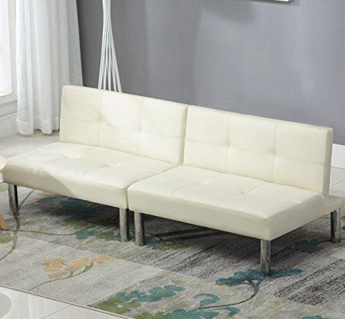 UEnjoy 180 x 90 Schlafsofa Weiß Leder Schlafcouch Luxuriös Sofabett 3 Sitzer