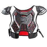 Armor QTrees Chaleco de protección Profesional para niños, para Motocross, Patinaje, esquí, Espalda, Motocicleta, Equipo Protector, Chaquetas, Camiseta, Soporte de Espalda, Red&Black, Small