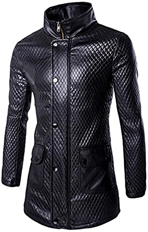 Jeansian Hommes Mode Costumes Solid Color Blouson Personalized Leather Men's Windbreaker Jacket Long Coat 9510 Black L(XXL)