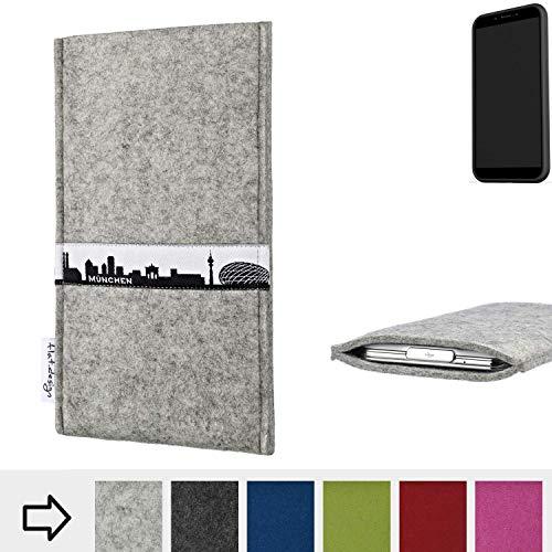 flat.design für Shift Shift6mq Schutz Hülle Handytasche Skyline mit Webband München - Maßanfertigung der Schutztasche Handycase aus 100% Wollfilz (hellgrau) für Shift Shift6mq
