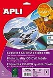 APLI 10603 - Etiquetas blancas calidad foto imprimibles para CD (ext. Ø117 int. Ø18), adhesivo permanente 10 hojas