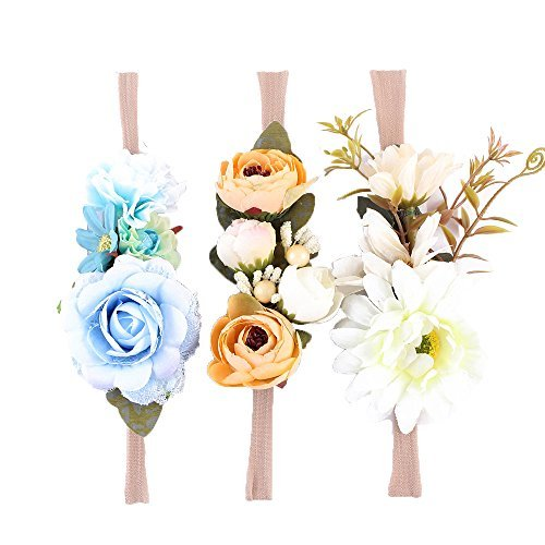 (Raffhalter Blumen Krone ELASTISCH Blumen Stirnband Baby Mädchen Blumenmuster Krone Kranz Neugeborenes Haarzubehör Party Versorgungen - Farben - A, One Size)