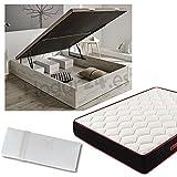 Hogar24.es Canapé de madera blanco vintage + colchón viscoelástico reversible +almohada 100% viscoelástica-150x190cm