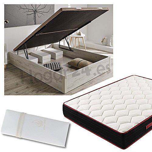 Hogar24.es Canapé de madera blanco vintage + colchón viscoelástico reversible +almohada 100% viscoelástica-150x200cm