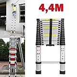 Teleskopleiter Aluleiter 4,4M Klappleiter Ausziehleiter Stehleiter Mehrzweckleiter Rutschfester Tragbar Leichte Leiter faltbare, gerade Leiter 150 kg Tragfähigkeit EN131-Zertifizierung