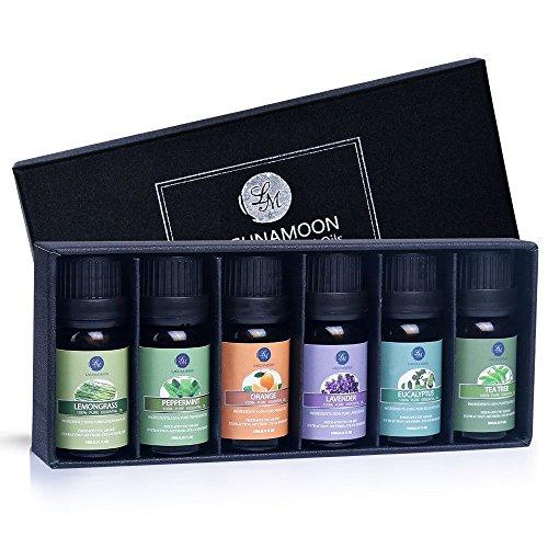LAGUNAMOONTM Aceites Esenciales, Top 6 Set de Regalo de Aceites de Aromaterapia de Lavanda, Eucalipto, Hierba de Limón, Menta, Arból de Té y Naranja, Aceites Esenciales para Humidificadores, 100% Puros