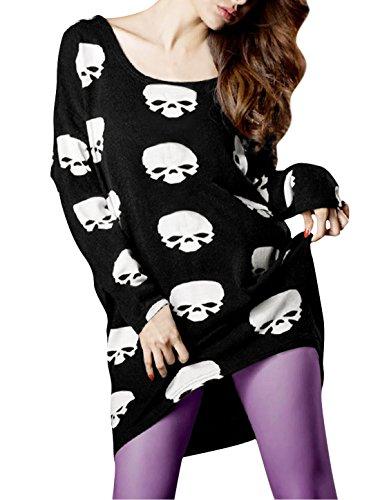 Femme Faible col rond Dolman Manches Longues Imprimé Tunique Tricoter Chemise Noir