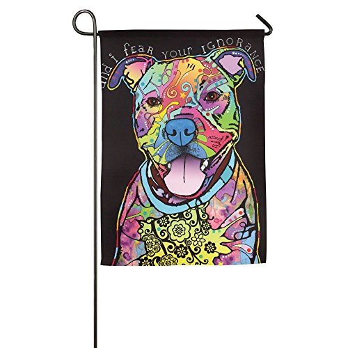 Hfdream Farbe Pit Bull Terrier Home Flagge Graphic Garten-Flagge Bedruckt im Flaggen Cool Yard Flagge 12*18inch Weiß -