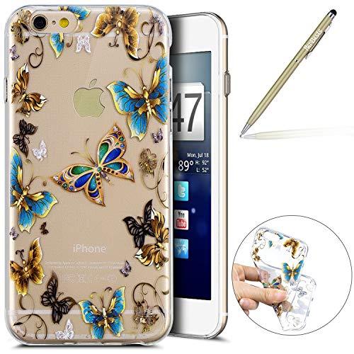 Herbests Kompatibel mit Handy Tasche iPhone 6S 4.7 Silikon Hülle Durchsichtige Schutzhülle Crystal Clear Transparent Ultra Dünn Handyhülle Silikonhülle Kristall Klar TPU Bumper,Blau Schmetterling