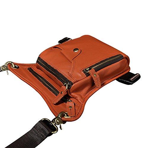 Genda 2Archer Los Hombres Bolsa de Pierna de Cuero, Bolso de la Cintura Genuina / Moto (Rojo Marrón)