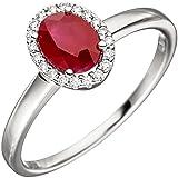 Dreambase Damen-Ring mit einem Rubin und 20 Diamant-Brillanten 14 Karat (585) Weißgold 0.10 ct. 56 (17.8)