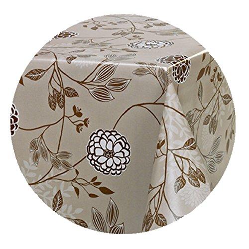 DecoHomeTextil Wachstuch Wachstischdecke Tischdecke Lux Blumen RUND OVAL Größe & Farbe wählbar Rund 100 cm Creme Beige abwaschbar Lebensmittelecht (Orange-blumen-tischdecke)