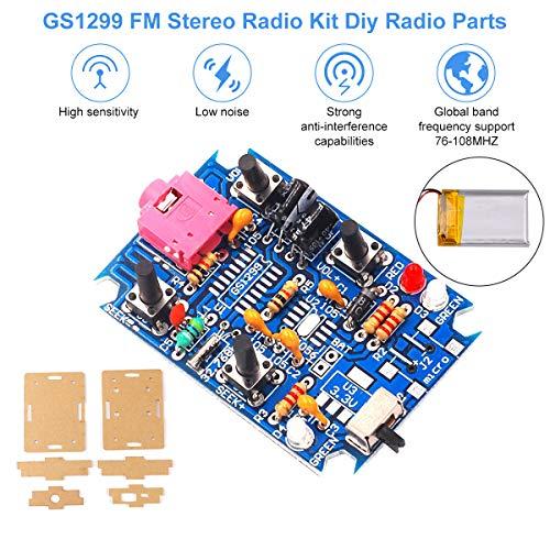 FM Radio Modul, FM Stereo Radio Kit DIY Radio Parts GS1299 3,7 V 4,2 V mit  250 mAh Akku, Digital Production DIY Radio Parts Support 76-108 MHZ