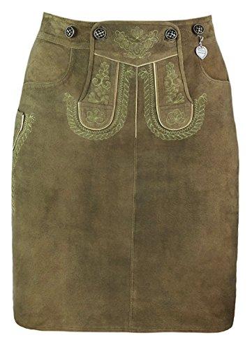 """Trachtenamazonen Damen Trachtenrock aus feinstem Leder, Modell """"Tegernsee - long"""" aus der Couture-Line in oliv-farbigem Ziegenveloursleder mit salbeigrüner Bestickung (38)"""