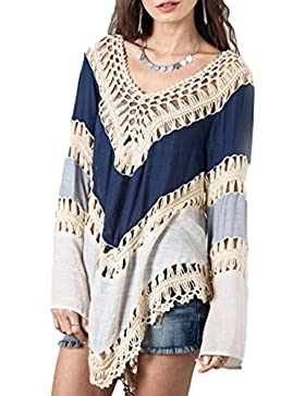 U-shot Ladies 'V cuello Patchwork étnico Irregular Loose Casual Top