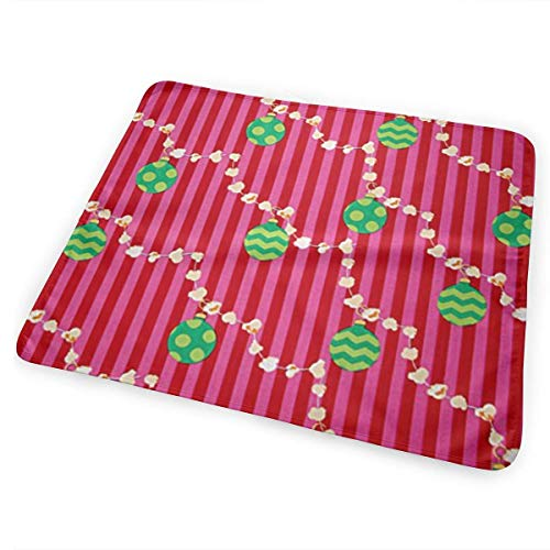 Voxpkrs All The Trimmings Garland Santa Baby Crib Pee Changing Pad Mat Mattress Protector for Toddler Kids Infant Pets (Garland Chevron)