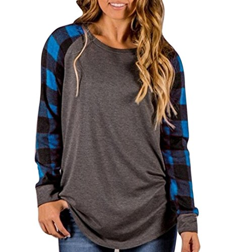 FORH Damen Neue Herbst Winter langarmshirt warm O-Ausschnitt Sweatshirt Pullover Bluse Vintage Chic plaid drucken T-shirt Hemd Tops aus hochwertiger Baumwollmischung (L, (Halloween Hofnarr Kostüm Frauen)