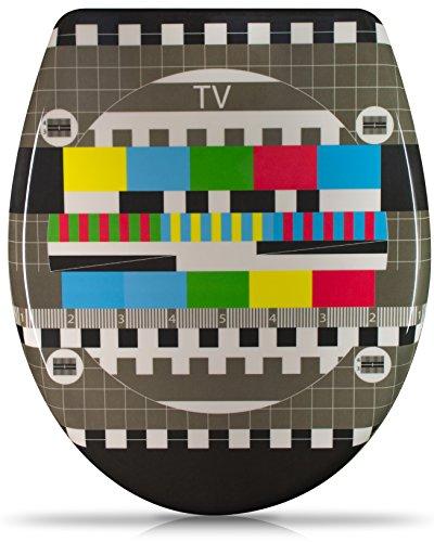 """WC Sitz mit Absenkautomatik - """"TV Testbild"""" Design - Duroplast Toilettendeckel mit Motiv inkl. Montagesatz - Grinscard"""