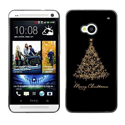 GooooStore/Dura Custodia Rigida della copertura della cassa - Christmas Holidays Black Gold Tree - HTC One M7