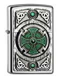Zippo Encendedor, Cromado, Satin Finish (Celtic Green Cross), 5.8 x 3.8 x 1.8 cm