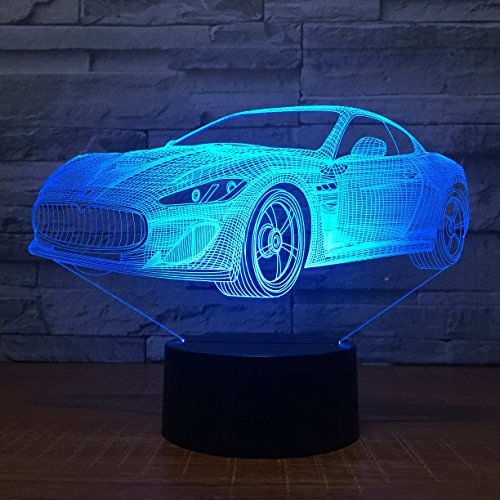 Leisurely Lazy New Car Shaped 3D Optical Illusion Lamp 7 Colors Change and 15 Keys Remote Control LED Table Desk Lamp for Home Bedroom Decoration Radio-cap-baseball-cap