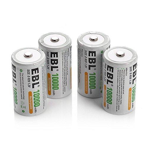 EBL 10000mAh de Ni-MH Recargables Baterías D para los Equipos Domésticos (4 Unidades)