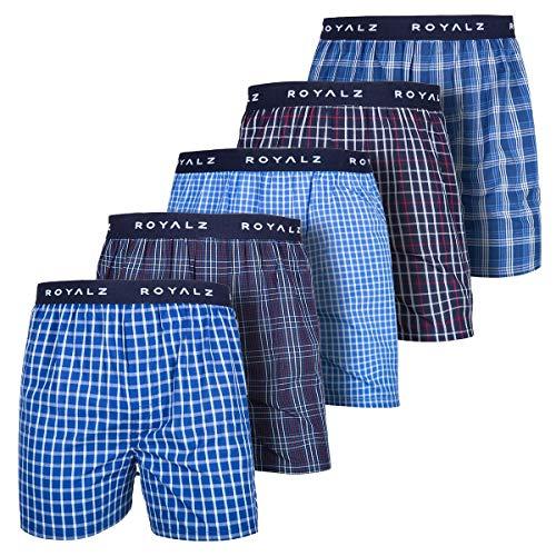 ROYALZ 5er Pack Boxershorts American Style für Herren Männer Unterhosen Kariert Blau klassisch 5 Set Jungen Unterwäsche weit, Größe:M, Farbe:Set 001 (5er Pack - Mehrfarbig) - Blaue Herren-unterwäsche