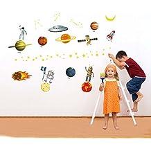 Planeta Mundo Desde El Espacio Ultraterrestre Vinilo Adhesivo para pared casa papel adhesivo extraíble Living comedor dormitorio Cocina murales arte imagen DIY Stick Niñas Niños Kids Nursery Baby sala de juegos decoración