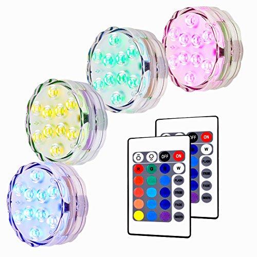 Unterwasser LED Leuchte, Lunsy 4pcs Multicolor RGB 10 LED Schwimmlichter Wasserdicht Lampe Deko Lichter Schwimmleuchtung Beleuchtung für Water Garden, Aquarium, Badewanne Pool und Spa usw. -