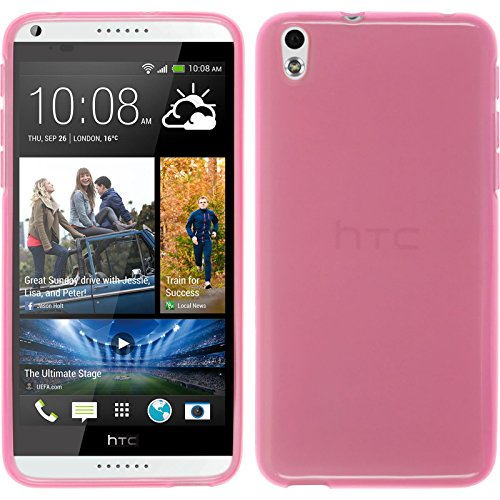 PhoneNatic Case für HTC Desire 816 Hülle Silikon rosa, transparent + 2 Schutzfolien