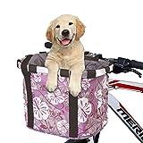 ANZOME Fahrradtaschen am Lenker für Mountainbike MTB Frontrahmen Tube Lenker Bike Basket Unisex Fahrradtasche, faltbares abnehmbares Haustier-kleines Tier-Hundekatze-Kaninchen-Reise-Einkaufen(Lila