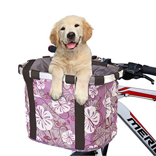 ANZOME Fahrradkorb, Faltbar Fahrrad vorne Korb, Easy Install Abnehmbare Lenkerkorb Tasche für Kleiner Hund-Einkaufen-Reisen-Picknick, mit Lenkeradapter, Lila, 33 x 22 x 25 cm