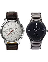 Rico Sordi Men's Premium Leather And Metal Watch Combo Pack Of 2 RSPWC-2-22