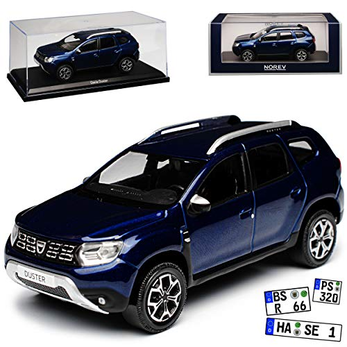 Norev Dacia Duster II Cosmo Blau SUV 2. Generation Ab 2018 1/43 Modell Auto mit individiuellem Wunschkennzeichen (Duster Auto Modell)