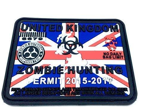 Patch Nation United Kingdom Zombie Hunting Permit Rot Blau Weiß PVC Großes Airsoft Paintball Klett Emblem Abzeichen (Zombie-klett-patch)
