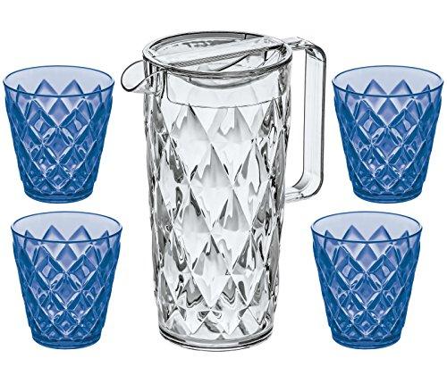 Koziol Crystal 1,6l Jarra, transparente en Juego con 4vasos de Crystal S...