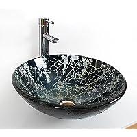 AIURLIFE Materiale lavello circolare in pittura è temperato GlassBathroom lavello / rubinetto del bagno / bagno montaggio anello / bagno