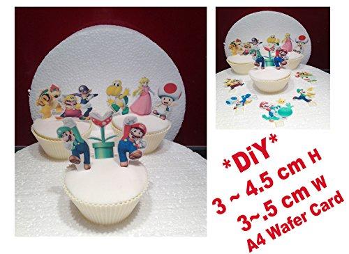 Mario Bross 1 Ensemble de gâteau fête SA Maniabilité Gelée comestible carte X 25 pièces