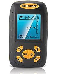 Wireless Depth Finder, PIMITI Sonar Fisch-Finder mit Verdrahtete Sensor Alarm 100M / 328ft Echolot Fischfinder für Boot, mit Alarmfunktion 25 Fußkabel
