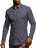 LEIF NELSON Herren Hemd Slim Fit Langarm Freizeithemd für Anzug Business Hochzeit Freizeit Party T-Shirt Kurzarm LN3465; XXL, Dunkel Blau