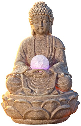 pajoma Zimmerbrunnen Buddha Lotus, mit LED Beleuchtung Zimmerbrunnen Mit Pflanze