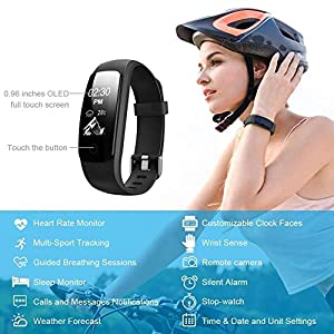 Lintelek Pulsera Inteligente, Monitor de Ritmo cardíaco, sueño, GPS para Correr, Impermeable IP67, Cronómetro, Bluetooth 4.0, Negro