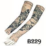 KEHUASHINA Mangas del Tatuaje Falso Temporal Sunproof Arts Sleeves Half-Finger UV Cover -Dragón, Tela de araña, Belleza, Dios, Rosa, Buda