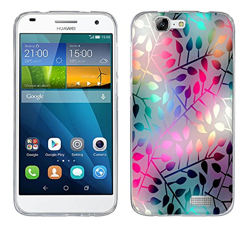 Fubaoda Lichtdurchlässiges Glas Schutzhülle für Ascend G7, [Air-Cushion Kantenschutztechnologie - Bumper Case] Rückschale und TPU-Bumper Weiche Silikon Schutzhülle für Huawei Ascend G7
