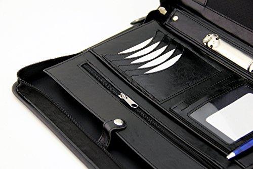 ufficio Noda portadocumenti ad anelli con appunti in finta pelle PU conferenza black con zip cartella A4